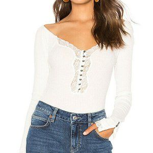 NEW Free People to the west tee lace ribbed top